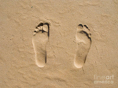 Footprints Photograph - Footprints On Sand At A Desert Beach by Jose Elias - Sofia Pereira