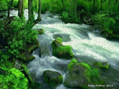 Green Painting - Forest Creek by Bruce Nutting