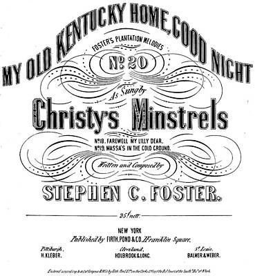 Kentucky Painting - Foster Song Sheet Cover by Granger