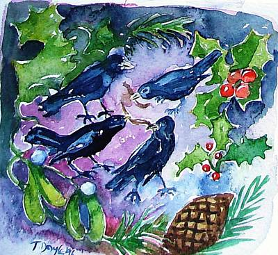 12 Days Of Christmas Painting - Four Calling  Birds by Trudi Doyle