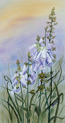 Arch Shapes Painting - Foxglove In The Scottish Mist by Ruth Bodycott