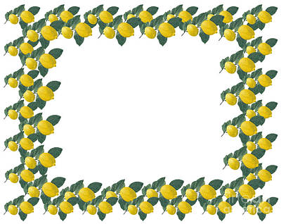 Lemon Photograph - Frame Made Of Several Painted Lemons And Leaves by Kerstin Ivarsson