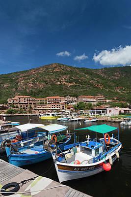 Sud Photograph - France, Corsica, Calanche, Porto, Town by Walter Bibikow