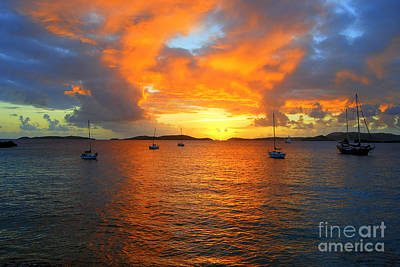 Frank Bay St. John U. S. Virgin Islands Sunset Art Print by Catherine Sherman