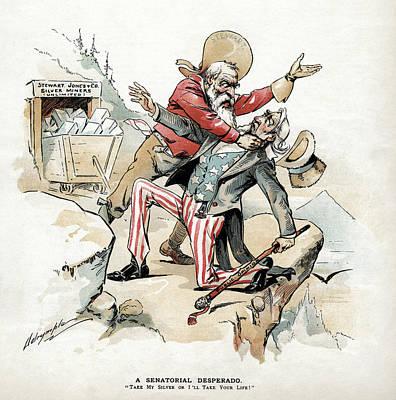 Free Silver Cartoon, 1893 Art Print by Granger