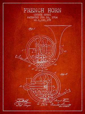 French Horn Drawing - French Horn Patent From 1914 - Red by Aged Pixel