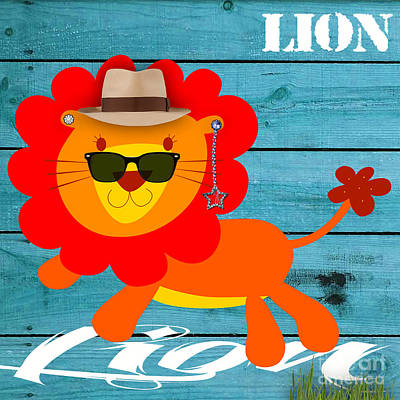 Babies Mixed Media - Friendly Lion Collection by Marvin Blaine