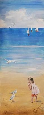 Little Girl On Beach Painting - Friends by Almeta LENNON