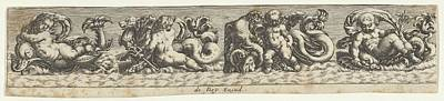 Theodor De Bry Drawing - Frieze With Sea Monsters by Johann Theodor de Bry