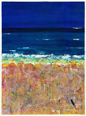Abstract Beach Landscape Painting - From My House To Yours by Frances Marino