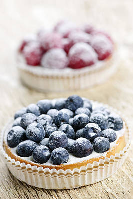 Raspberry Photograph - Fruit Tarts by Elena Elisseeva