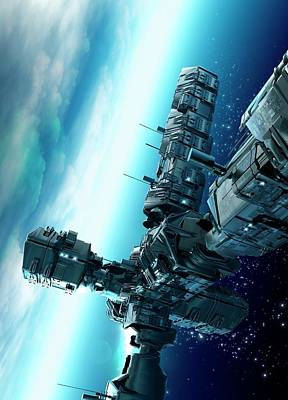 Outer Space Photograph - Futuristic Space Station by Victor Habbick Visions