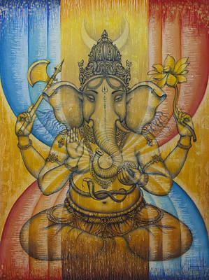 Hindu Art Painting - Ganesha  by Vrindavan Das