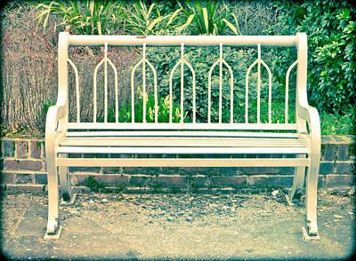 Empty Chairs Photograph - Garden Bench by Tom Gowanlock