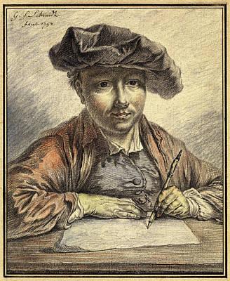 Self-portrait Drawing - Georg Friedrich Schmidt, German 1712-1775 by Litz Collection