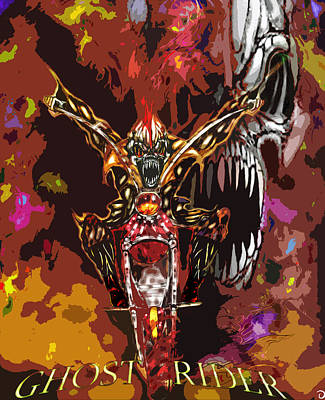 Graphic Digital Art Drawing - Ghost Rider Special Edition by Jazzboy