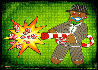 Drawing - Gingerbread Gangster by Shawna Rowe