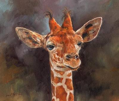 Giraffe Painting - Giraffe by David Stribbling