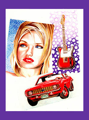 Drawing - Girl Car Rock And Roll by Diego Abelenda