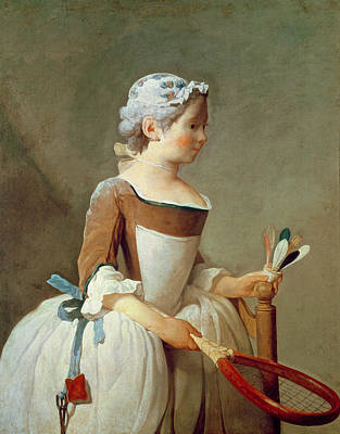 Children Sports Painting - Girl With Racket And Shuttlecock by Jean-Baptiste Simeon Chardin