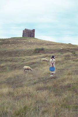 Refugee Photograph - Girl With Sheeps by Joana Kruse