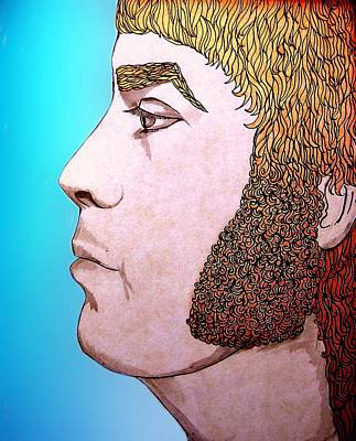 Drawing - Glam Rocker Red Hair by Joan-Violet Stretch
