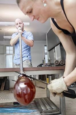 Glassblowers At Work Art Print by Thomas Fredberg