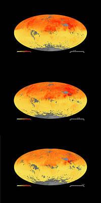 Trio Photograph - Global Carbon Monoxide Levels by Goddard Space Flight Center/nasa Earth Observatory/jesse Allen/nasa