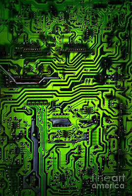 Glowing Green Circuit Board Art Print by Amy Cicconi