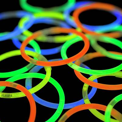 Bright Colours Photograph - Glowstick Bangles by Science Photo Library