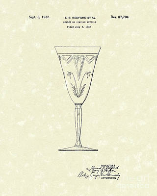 Etched Glass Drawing - Goblet 1932 Patent Art by Prior Art Design