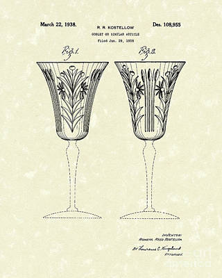 Glass Drawing - Goblet 1938 Patent Art by Prior Art Design