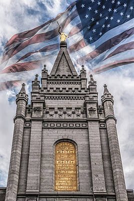 Slc Temple Photograph - God Bless America by La Rae  Roberts
