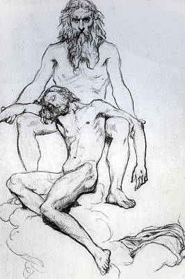 Religion Drawings Drawing - God The Father And God The Son by Henri Lehmann