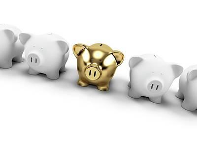Gold And White Piggy Banks Art Print by Sebastian Kaulitzki