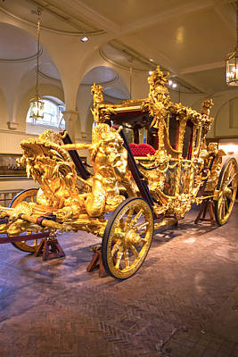 Gold State Coach Queen Elizabeth II Art Print by David French