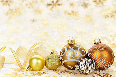 Baubles Photograph - Golden Christmas Ornaments  by Elena Elisseeva