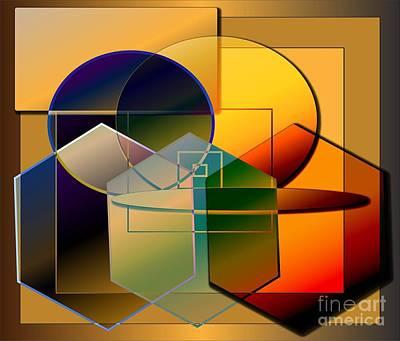 Art Print featuring the digital art Golden Circles by Iris Gelbart