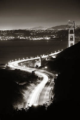 Photograph - Golden Gate Bridge At Night by Songquan Deng