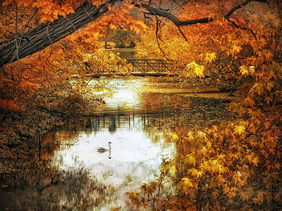 Golden Waters Digital Art - Golden Pond by Jessica Jenney