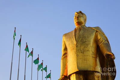 Golden Statue Of Niyazov In The Park Of Independence In Ashgabat Turkmenistan Art Print by Robert Preston