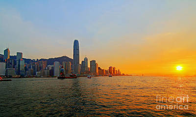 Hong Kong Photograph - Golden Sunset In Hong Kong by Lars Ruecker