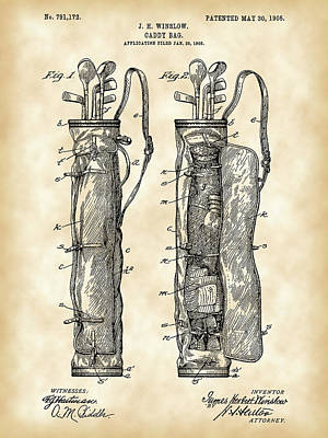 Parchment Digital Art - Golf Bag Patent 1905 - Vintage by Stephen Younts