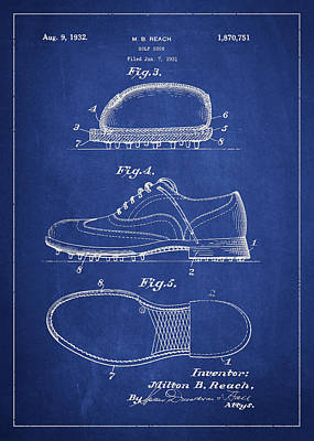 Sports Royalty-Free and Rights-Managed Images - Golf shoe Patent Drawing From 1931 by Aged Pixel
