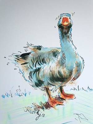 Aggressive Drawing - Goose Drawing by Mike Jory