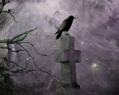 Surreal Crow In Gothic Purple Sky Art Print by Gothicrow Images