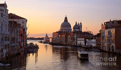 Gondola Photograph - Grand Canal At Sunrise -  Venice - Italy by Matteo Colombo