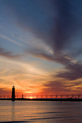 Sunrise Photograph - Grand Haven Lighthouse by Adam Romanowicz