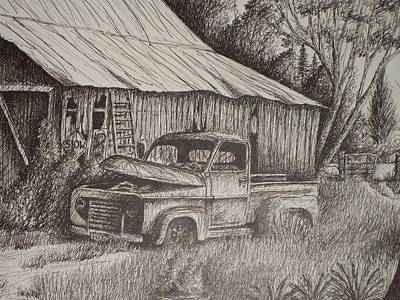 Grandpa's Old Barn With Chevy Truck Original by Chris Shepherd