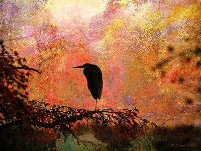 Great Blue Heron Art Print by J Larry Walker